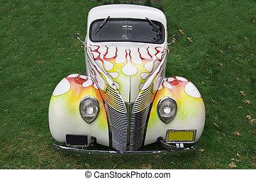 klassieke auto, met, vlammen