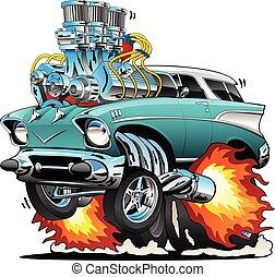 klassieke auto, staaf, illustratie, warme, vector, jaren '50, muscle, spotprent