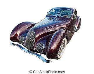 klassieke auto, vrijstaand, retro, achtergrond, witte