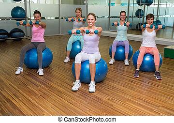 klassificera, övning, holdingen, hantlar, klumpa ihop sig, fitness, studio