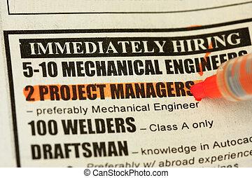 klassificerede reklamer., -, omgående, hiring