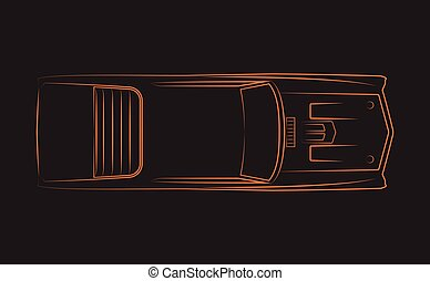 klassisch, 1970, auto, orange, silhoutte