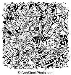 klassisch, abbildung, vektor, musik, doodles, karikatur