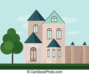 klassisch, architektur, fassade, von, a, castle., vektor, abbildung, hintergrund