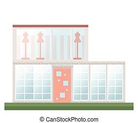 klassisch, architektur, fassade, von, a, house., vektor, abbildung, hintergrund