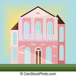 klassisch, architektur, fassade, von, a, rosa, house., vektor, abbildung, hintergrund