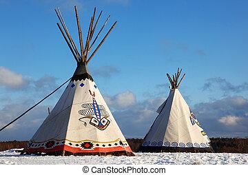 klassisch, eingeborener indianer, tee-pee