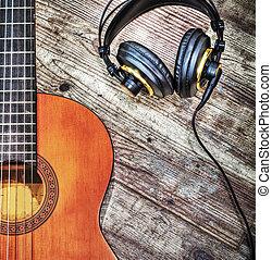 klassisch, gitarre, und, kopfhörer, in, hdr