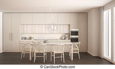 klassisch, hölzern, modern, boden, design, inneneinrichtung, weißes, minimal, kueche