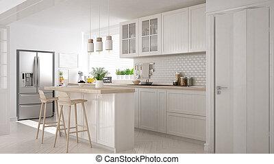 klassisch, hölzern, skandinavisch, details, design, minimalistic, inneneinrichtung, weißes, kueche