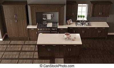 klassisch, hölzerne spitze, kueche , elegant, details, design, innerer blick