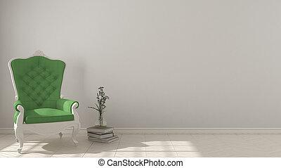 klassisch, lebensunterhalt, hintergrund, mit, weißes, und, grün, weinlese, sessel, auf, herringbone, natürlich, parkett, fussboden, innenarchitektur