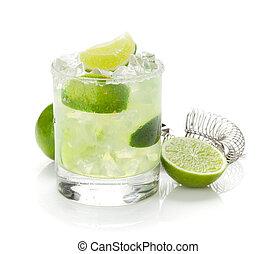 klassisch, margarita, cocktail, mit, limette, und, salzig, rand