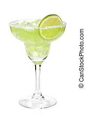 klassisch, margarita, cocktail, mit, limonellescheibe, und,...