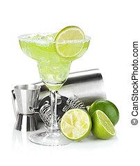 klassisch, margarita, cocktail, mit, salzig, rand