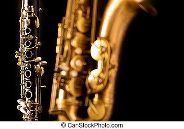 klassisch, musik, saxophon, laufzeitsaxophon, und,...