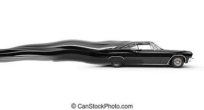 klassisch, muskel, schwarz, auto