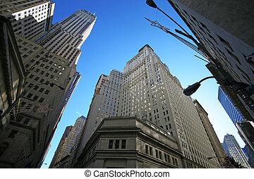 klassisch, new york, -, wall street, stock market, und, wolkenkratzer, in, manhattan