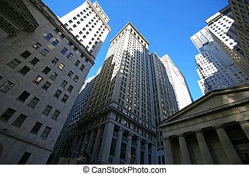 klassisch, new york, -, wall street, wolkenkratzer, in,...
