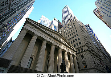 klassisch, new york, -, wall street, wolkenkratzer, in, manhattan