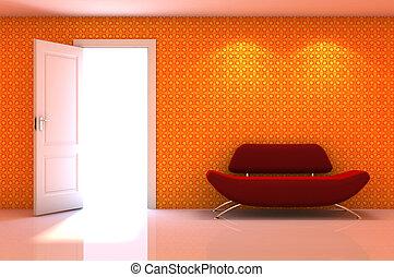 klassisch, wand, szene, couch, inneneinrichtung, weiß rot, 3d
