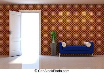 klassisch, wand, xxx, szene, couch, inneneinrichtung, 3d