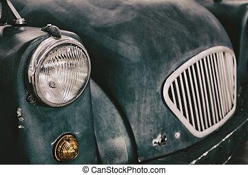klassisch, weinlese, scheinwerfer, auf, retro, auto, schließen