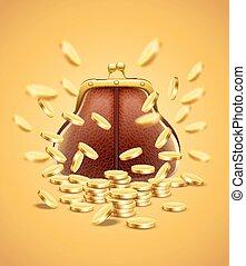 klassisk, årgång, portmonnä, med, guld peng, pengar