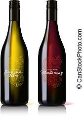 klassisk, attraktiv, white., flaska, röd vin