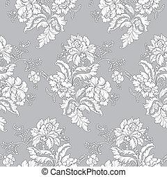 klassisk, blomstret mønster, -, seamless