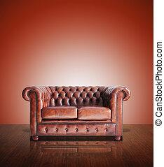 klassisk, brun læder sofa, og, gamle