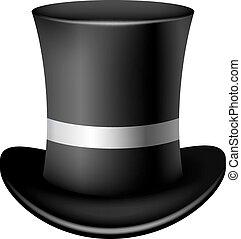 klassisk, cylinder, hat, på, en, hvid baggrund