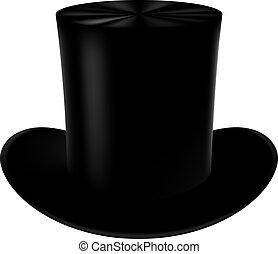 klassisk, cylinder, hat, på, en, hvid, baggrund.