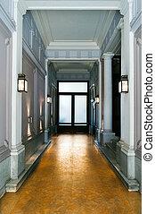 klassisk, foyer, ind, en, vinhøst, hjem