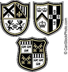 klassisk, heraldisk, emblem, hjälmbuske, shiel