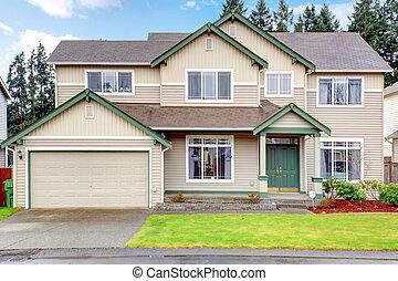 klassisk, hus, stort, amerikan, nordväst, färsk, exterior.
