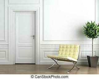 klassisk, hvid, interior