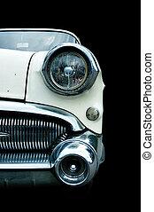 klassisk, hvid, retro, automobilen, isoleret