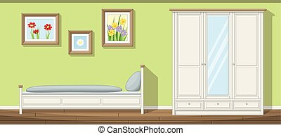 klassisk, illustration, sovrum