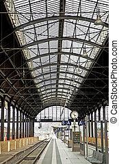 klassisk, jern, tog station, af, inderside