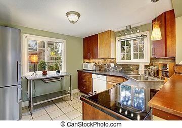 klassisk, køkken, hos, grønne, mure, og, hvid, flise, floor.