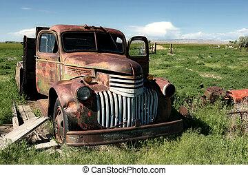 klassisk, lantgård, lastbil