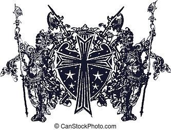 klassisk, militær, emblem