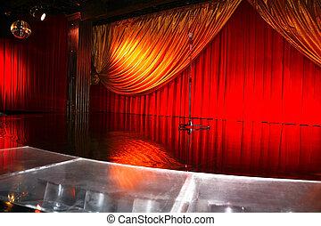 klassisk, retro, elegant, teater, med, mic