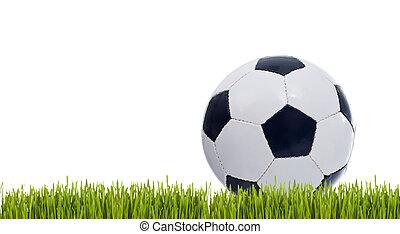 klassisk, soccer bold, på, græs