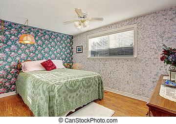 Kerne, soveværelse, gulv. Kerne, hængekøje, gulv, seng,... stock ...