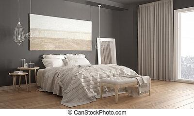 Klassisk, moderne, nordisk, soveværelse, minimalistic,... stock ...