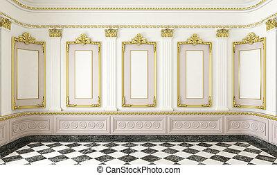 klassisk, stil, rum, med, gyllene, detaljerna