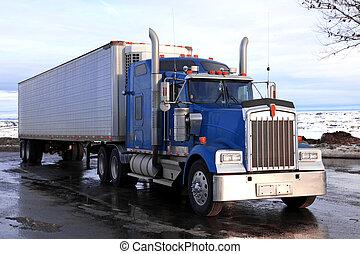 klassisk, stor, amerikaner, lastbil, udendørs