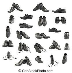 klassisk, svarta nappa, skor, isolerat